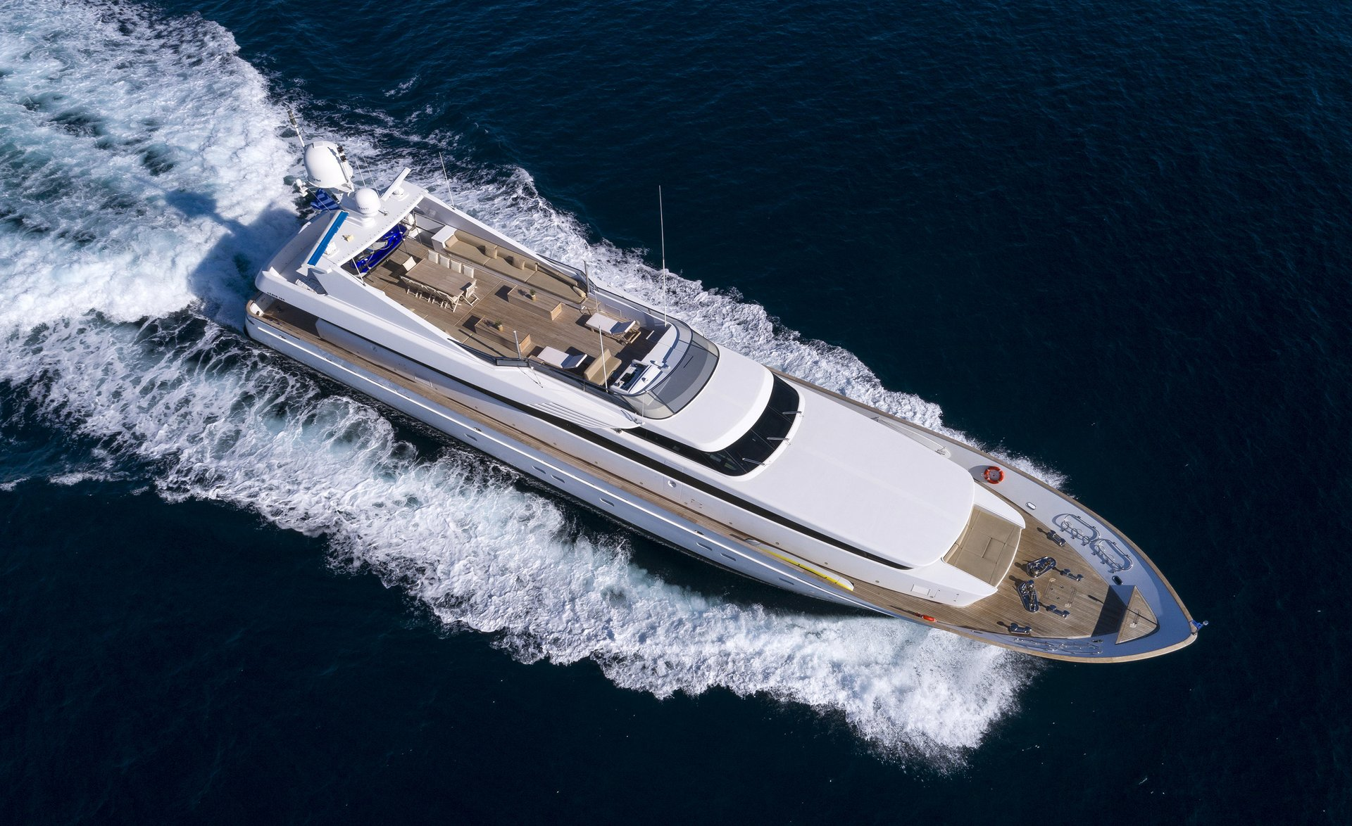 M/Y MABROUK yacht for charter bird view sailing right