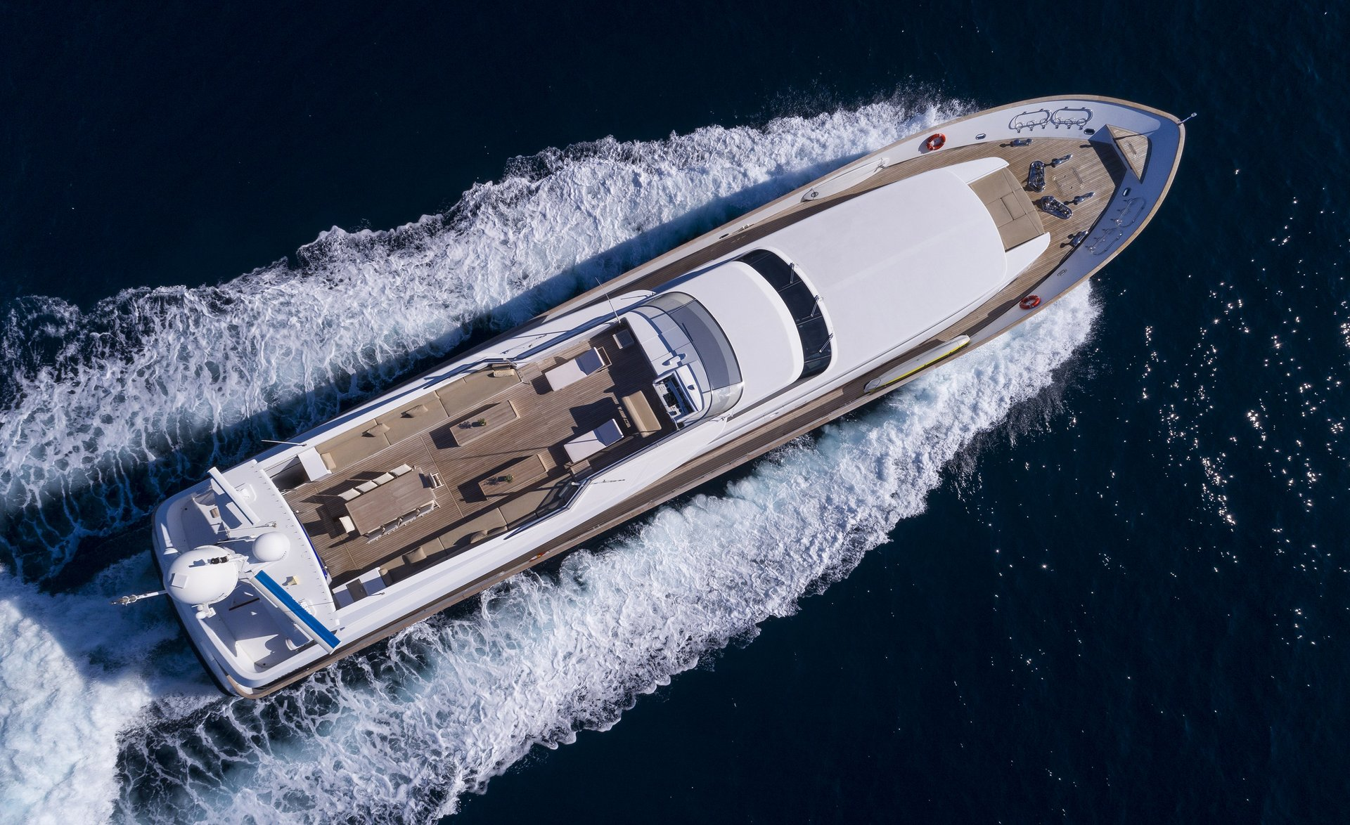 M/Y MABROUK yacht for charter bird view sailing left