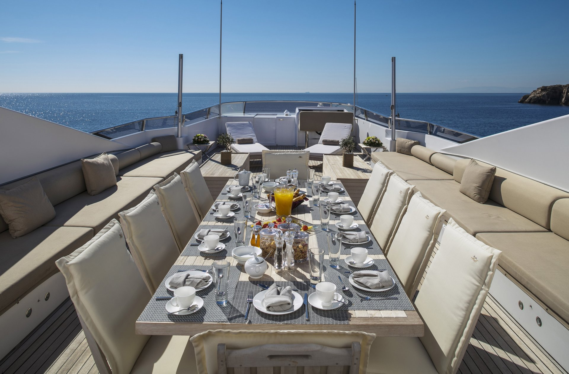 M/Y MABROUK yacht for charter set outdoor table