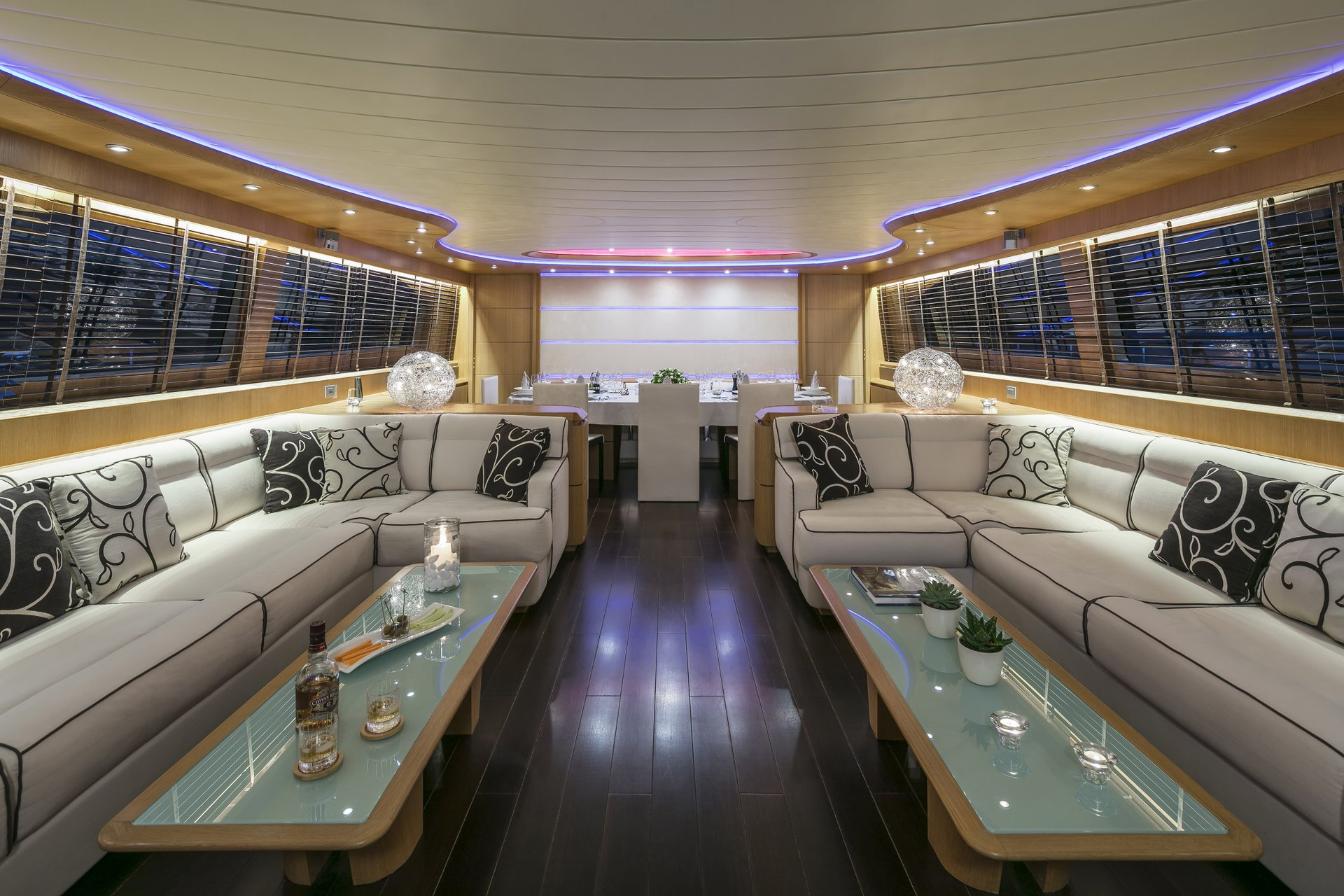 M/Y PARIS A yacht for charter indoor seating