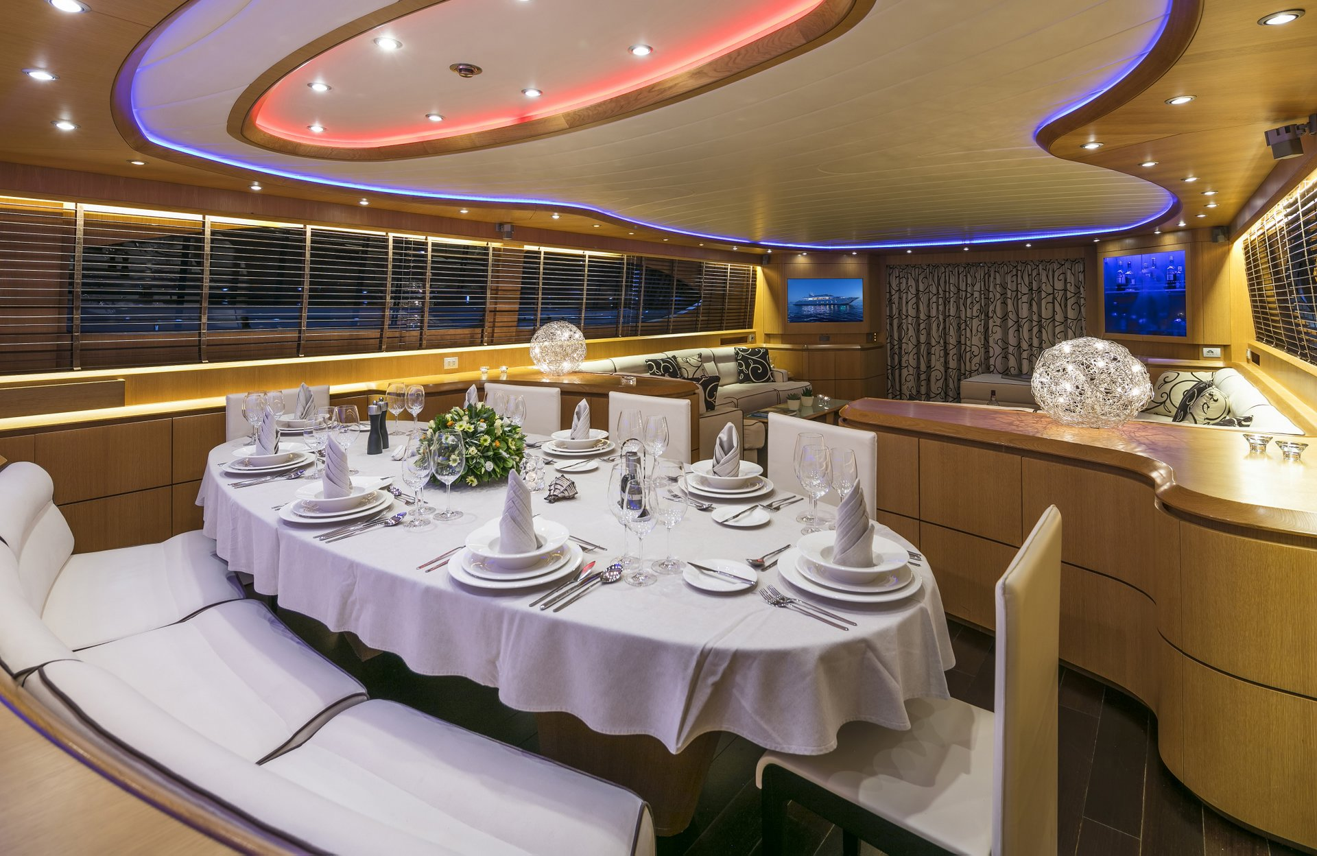M/Y PARIS A yacht for charter set dining table