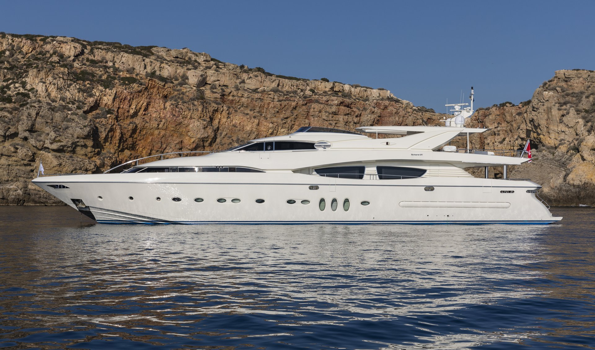 M/Y RINI V yacht for charter anchored closeup