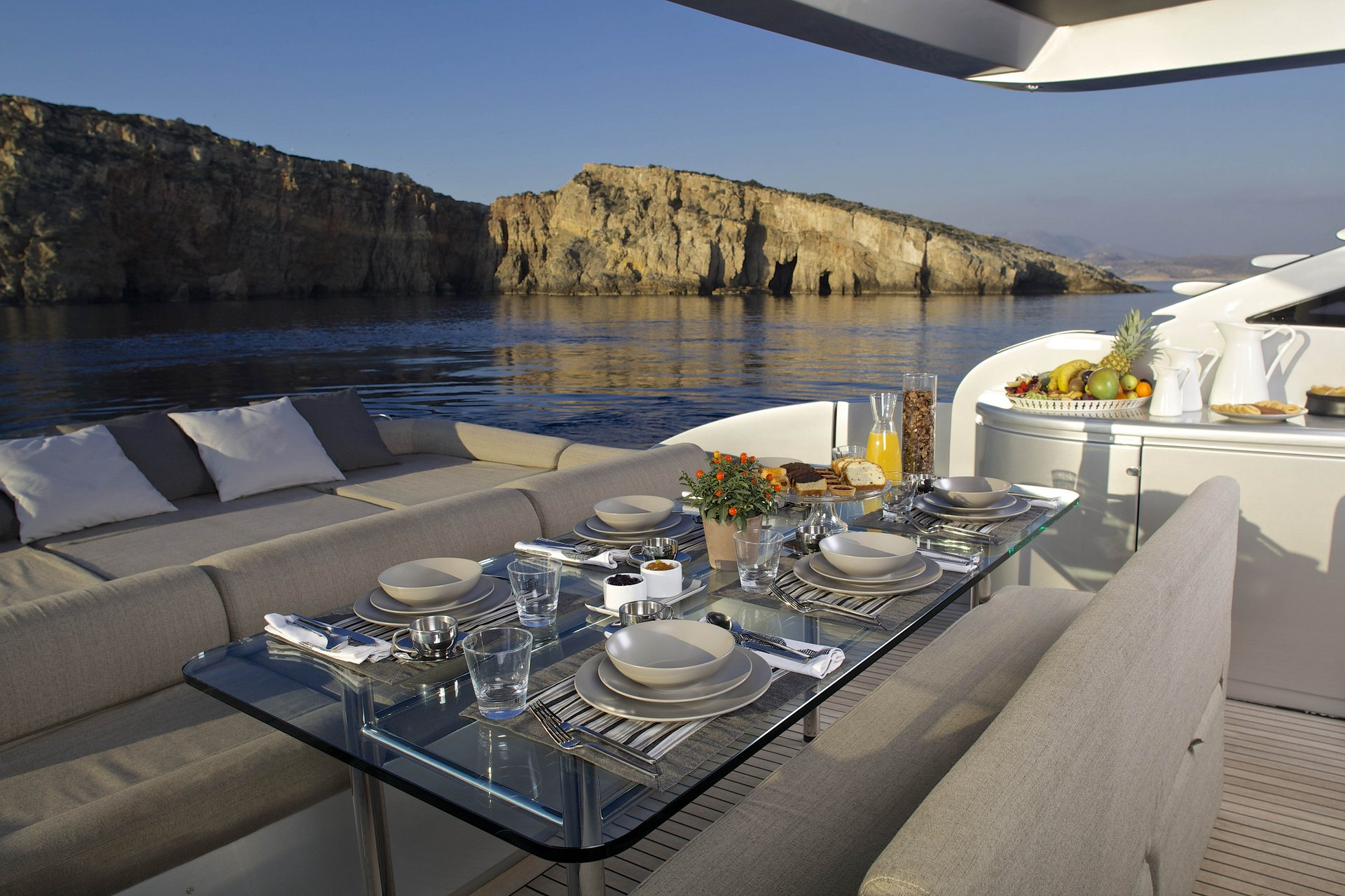 M/Y SOLARIS yacht for charter deck dining table