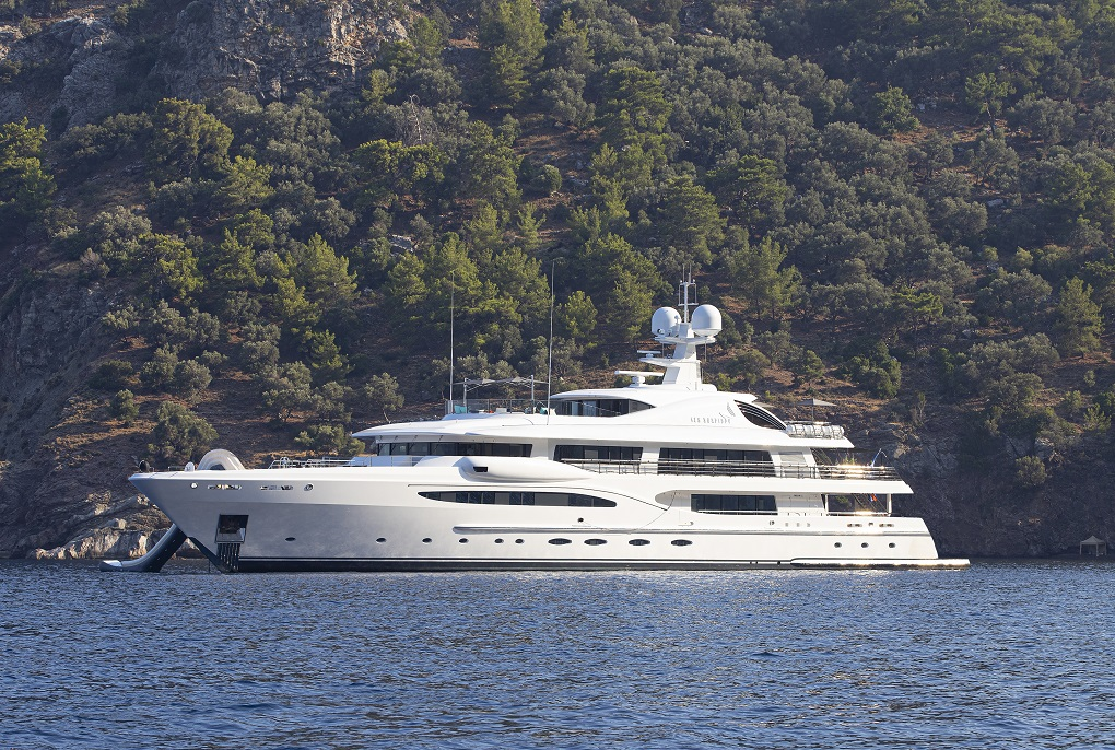 Full view of MY Sea Rhapsody yacht for charter on the sea