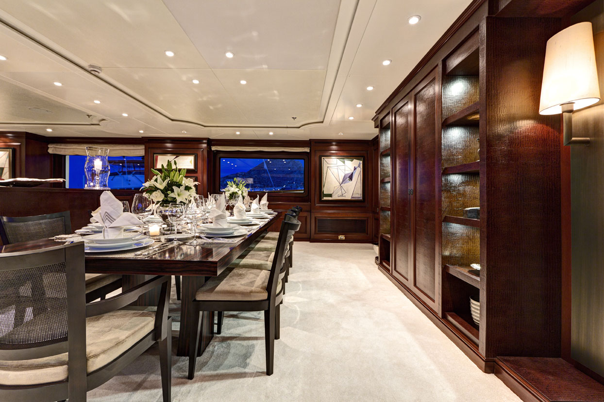 m/y azteca ii yacht for charter dining room