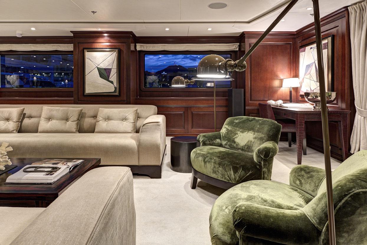 m/y azteca ii yacht for charter living room velvet seats