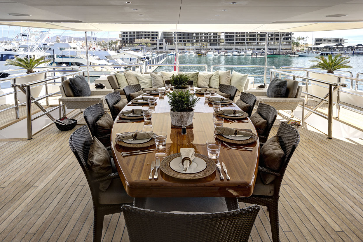 m/y azteca ii yacht for charter deck dining table