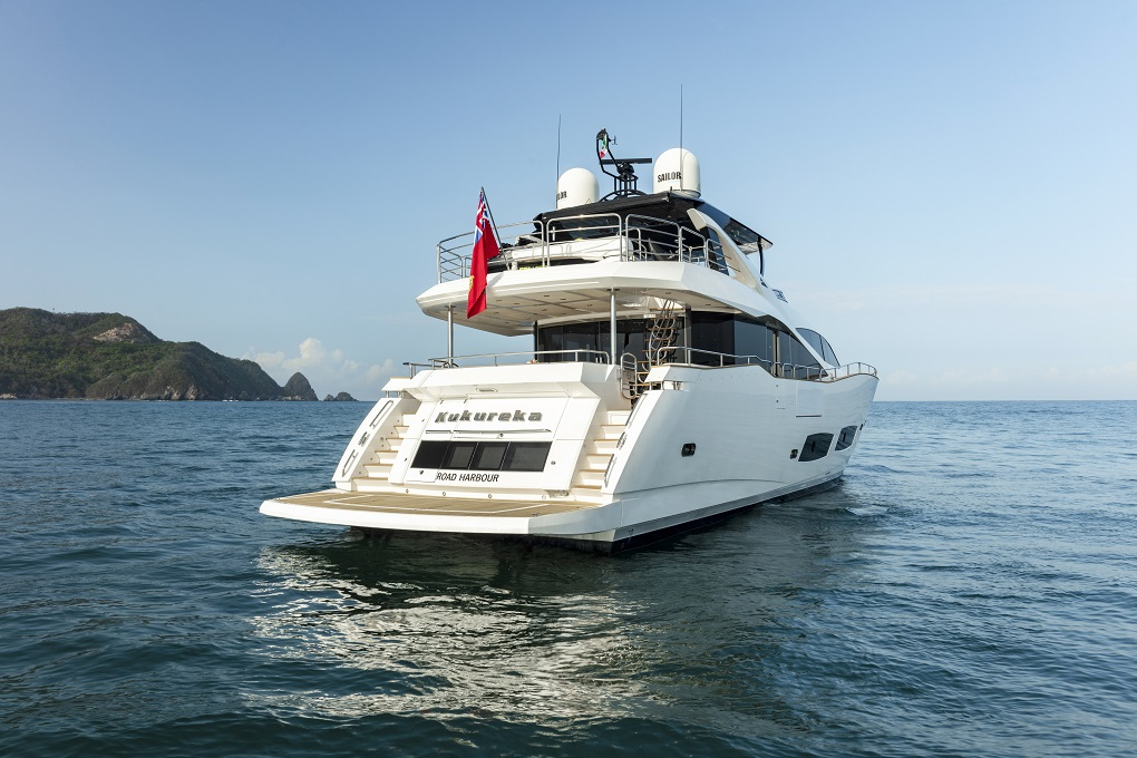 m/y kukureka yacht for charter back view