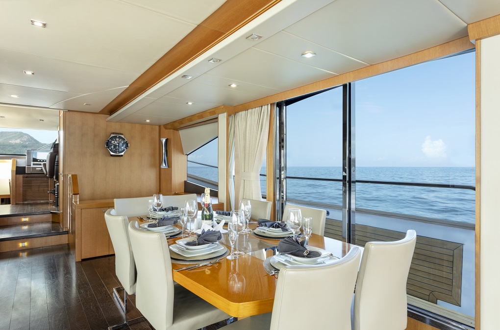 m/y kukureka yacht for charter indoor dining table