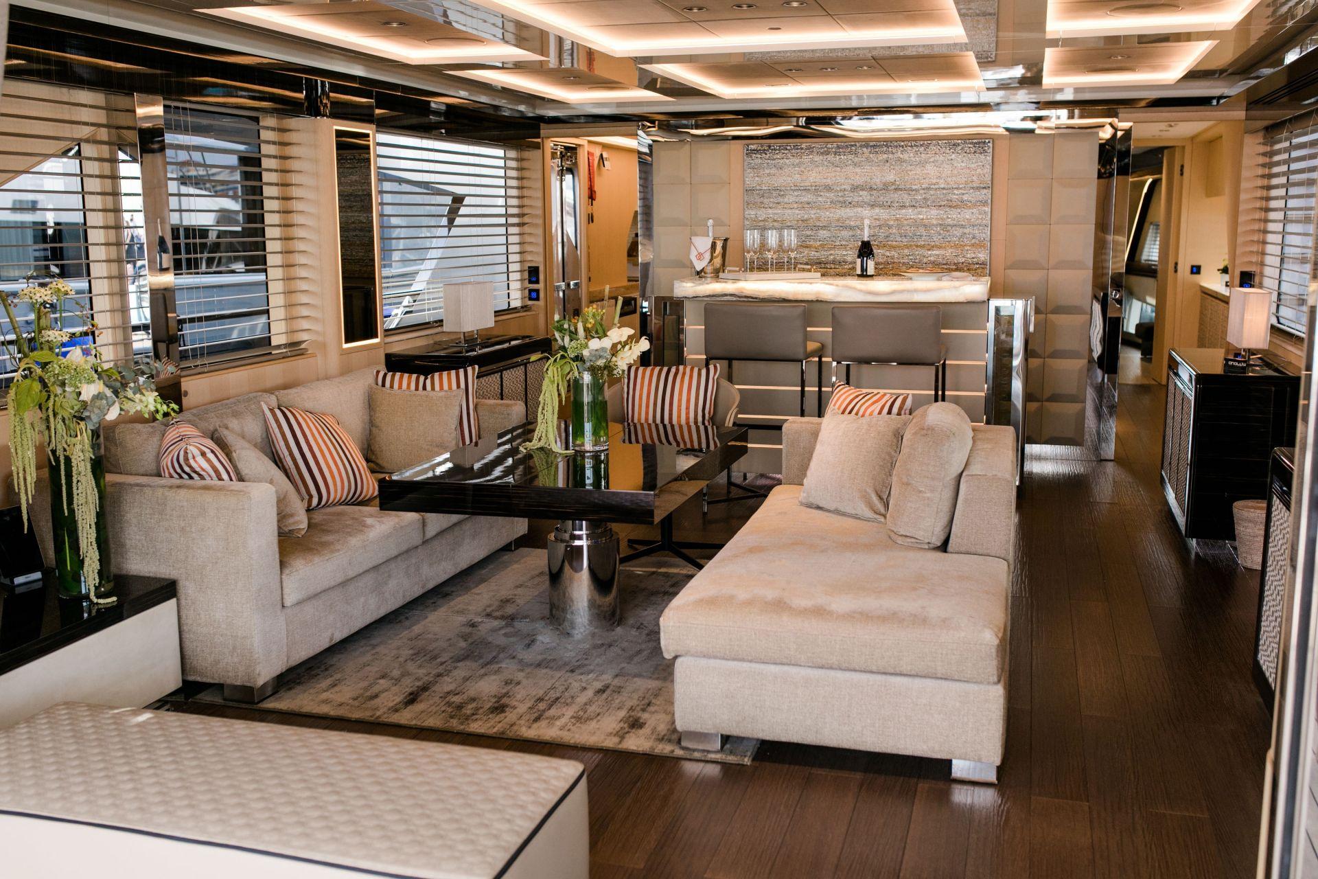 M/Y HANAA yacht for charter living room