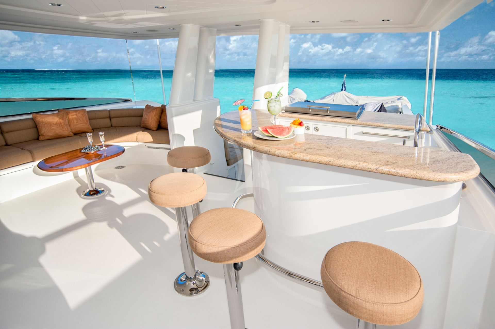 m/y wild kingdom yacht for charter deck bar