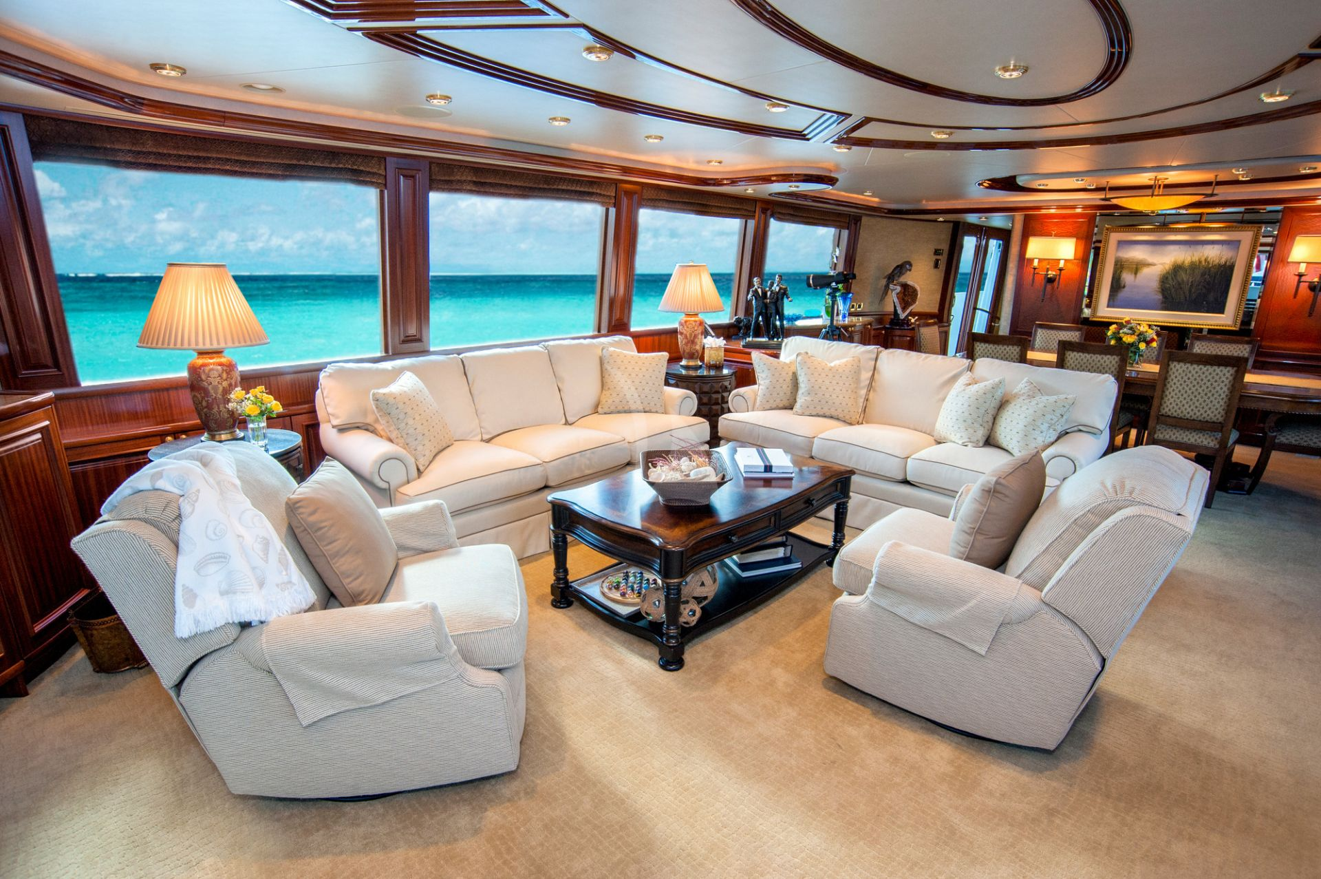 Seating area of M/Y WILD KINGDOM yacht for charter
