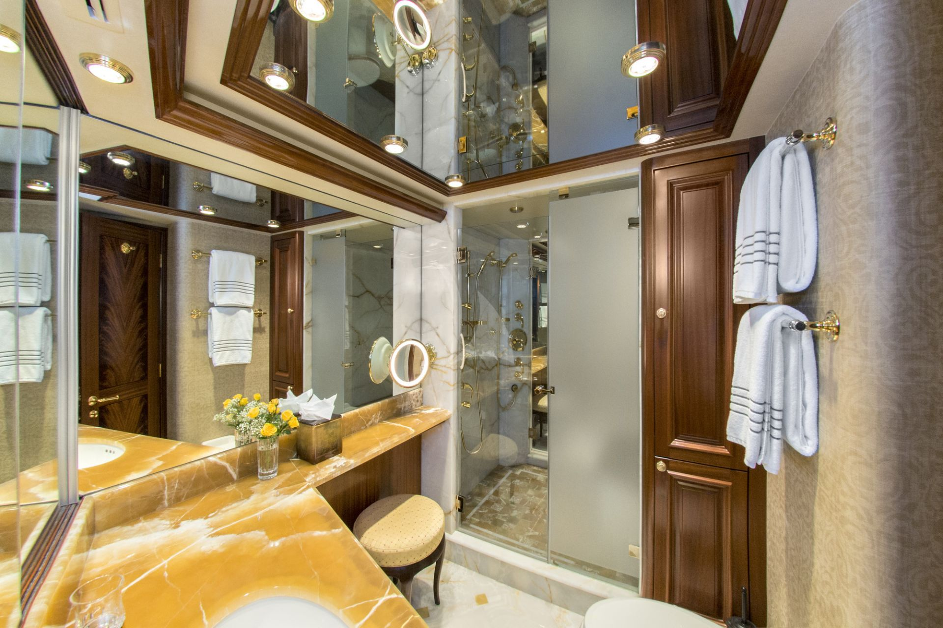 Ensuite aboard M/Y WILD KINGDOM yacht for charter