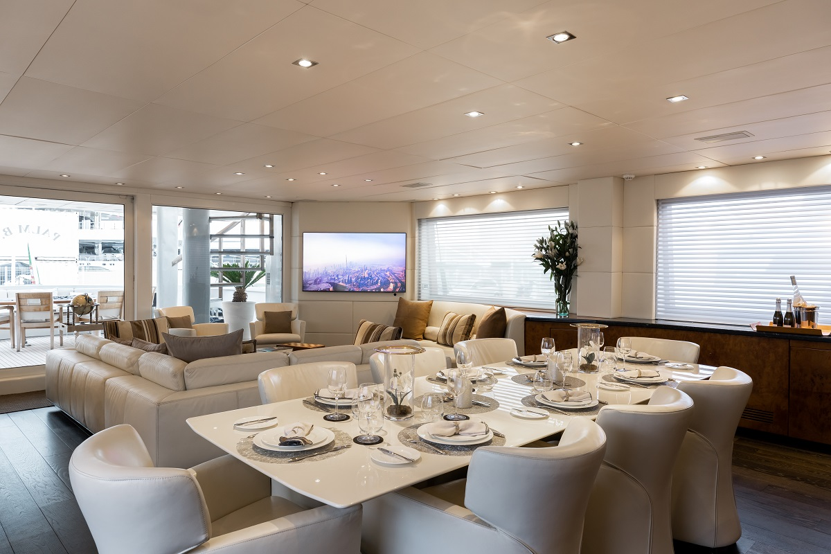m/y palm b yacht for sale dining area