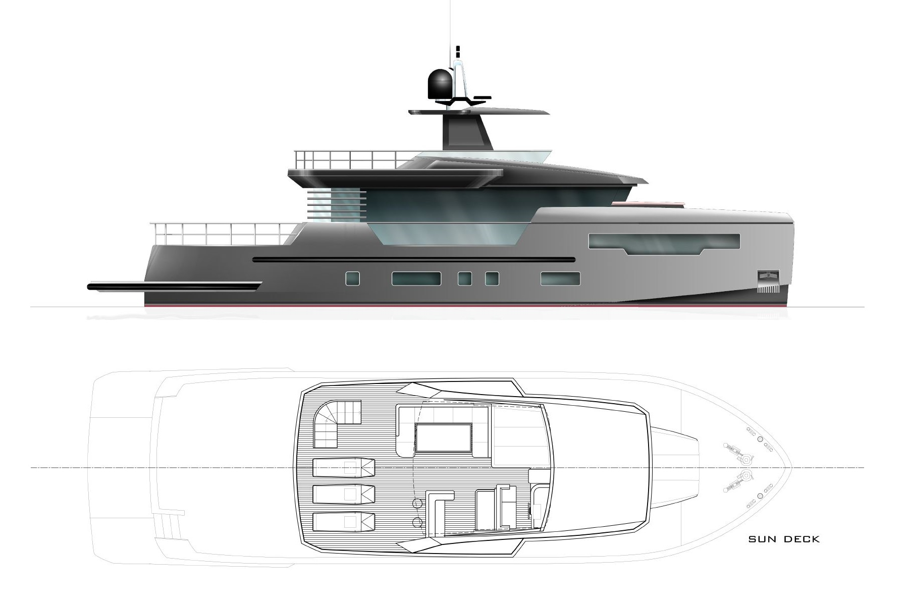 Profile Rendering of M/Y Fast Cruise 22 New Build Yacht for Sale