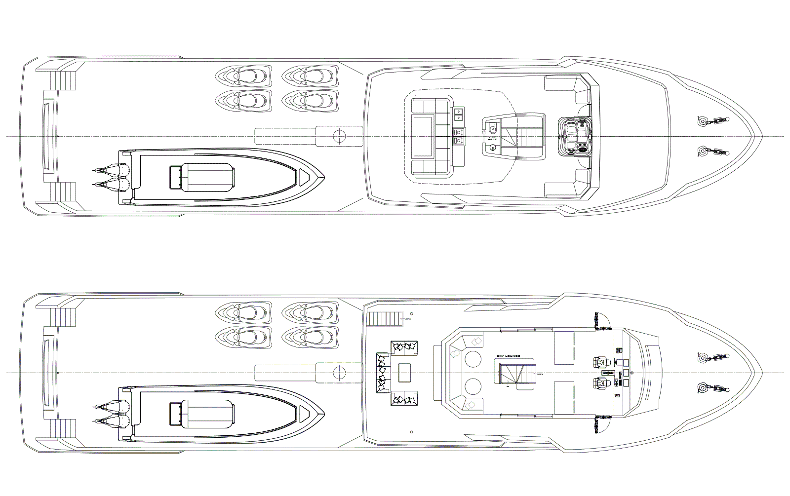 Deck Plan M/Y OMBRA 37 Yacht for Sale