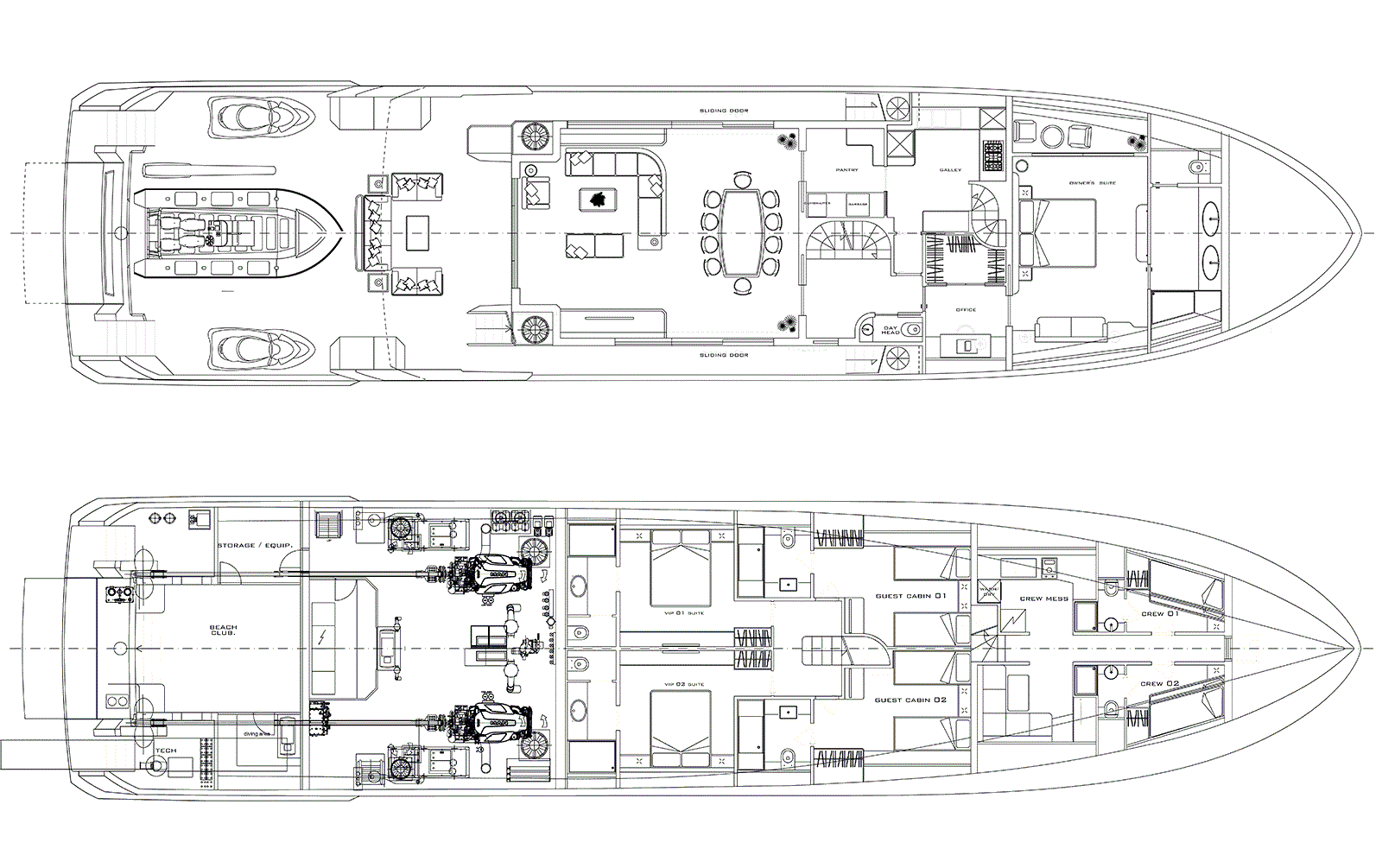 Deck plan of M/Y PACIFICO 35 yacht for sale