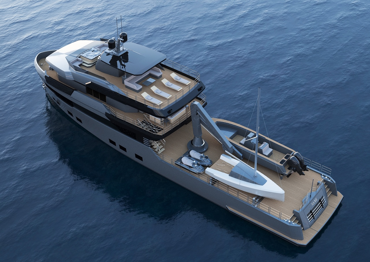 Aerial view of M/Y OMBRA 37 yacht for sale