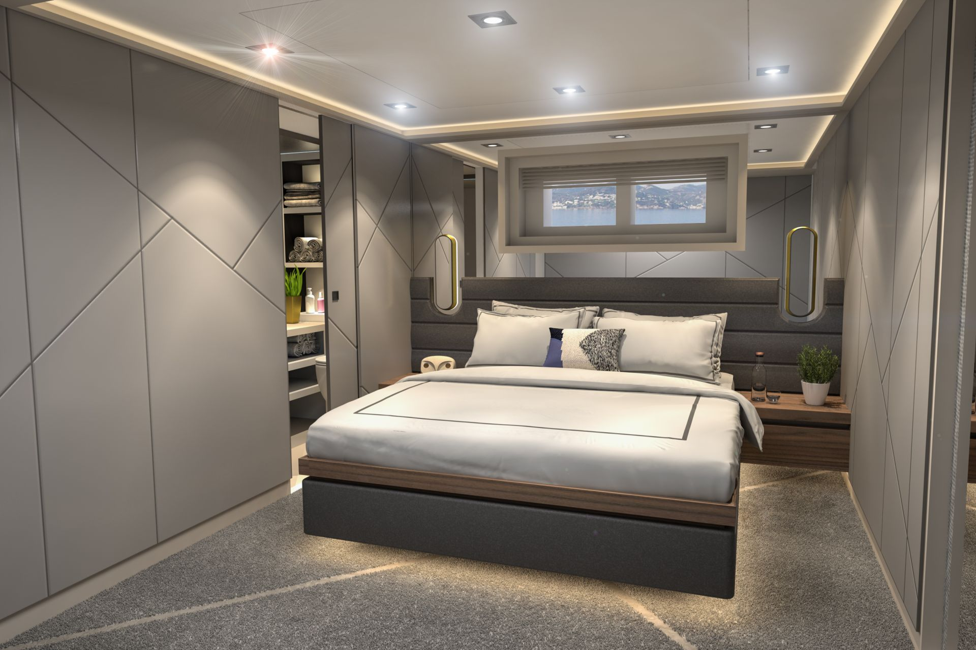 Beautiful guest cabin of M/Y INFINITY NINE yacht for charter
