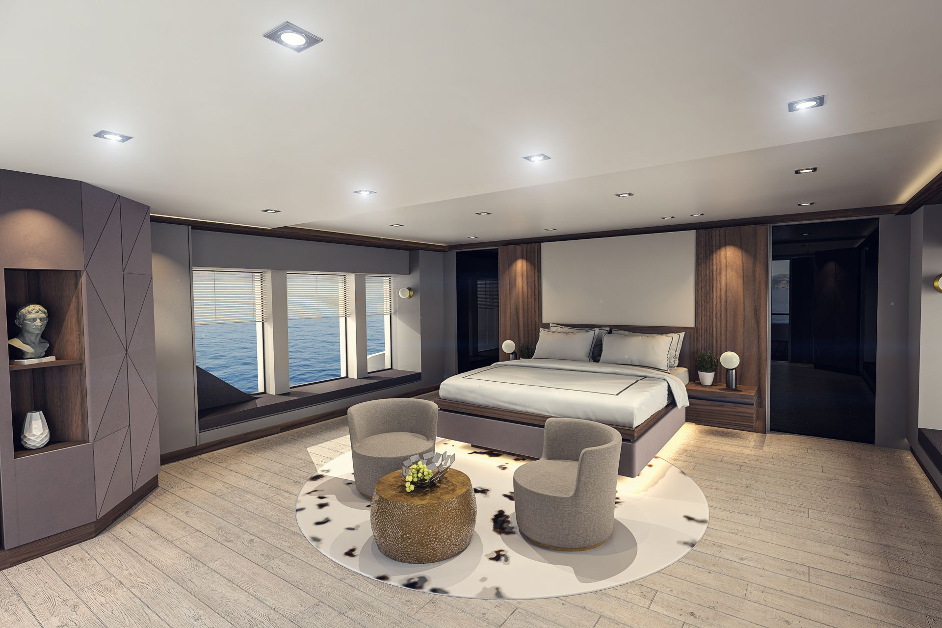 Contemporary and bright master cabin of M/Y INFINITY NINE yacht for charter
