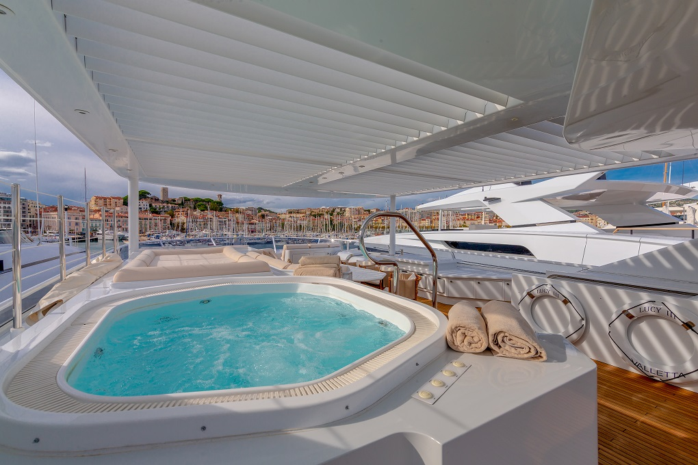 Hot Tub on the Deck of M/Y Lucy III Yacht for Charter