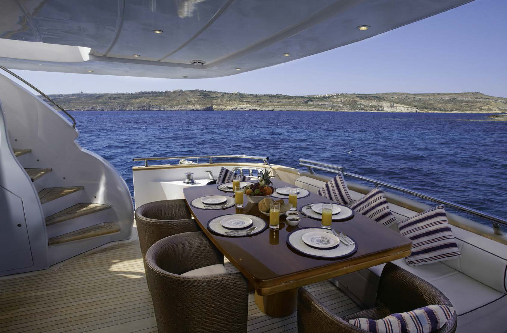 M/Y MEME yacht for charter after deck dining area