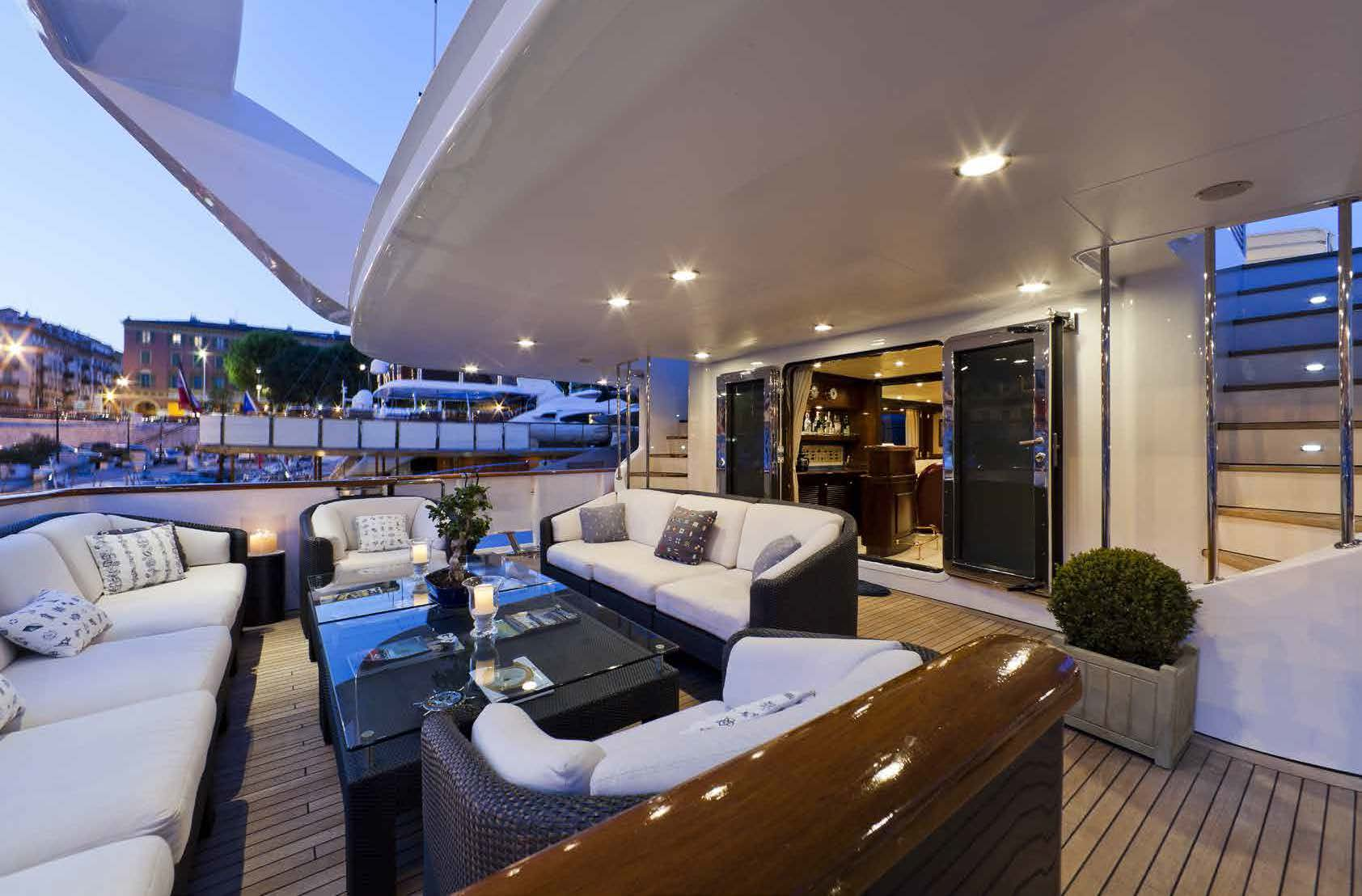 lounge deck area on M/Y SOPHIE BLUE for charter