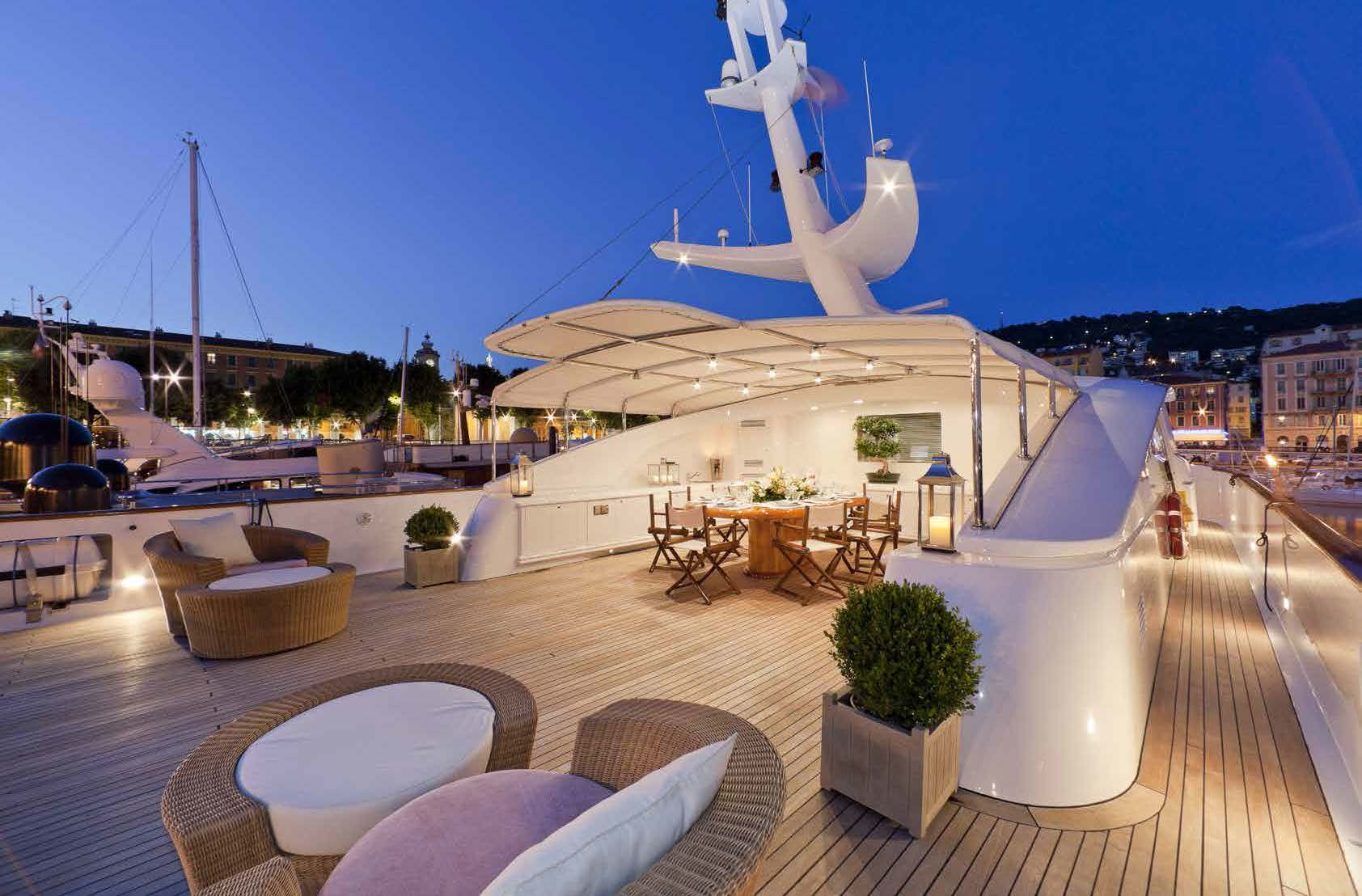 open dinner area on a yacht for charter M/Y SOPHIE BLUE