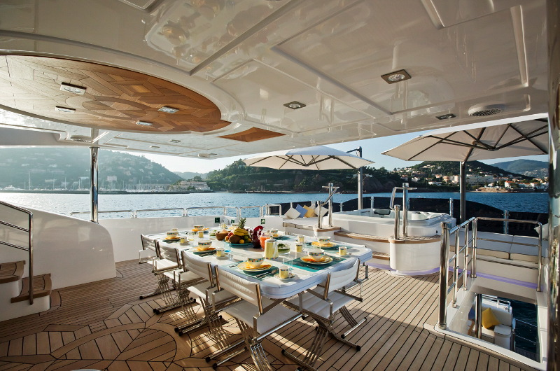 M/Y Marina Wonder luxury yacht for charter dining on a deck