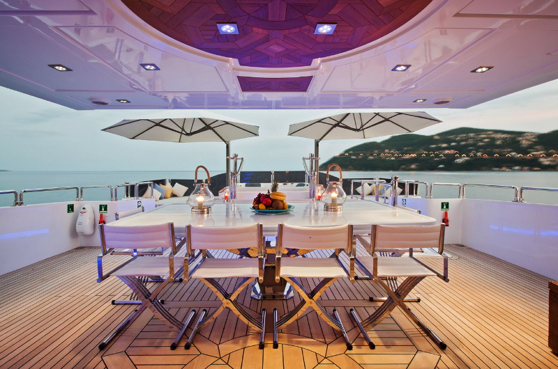 marine wonder motor yacht alfresco open dining area