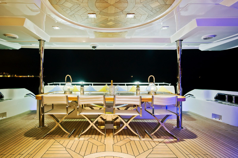 Marina Wonder luxury motor yacht charter open dining area
